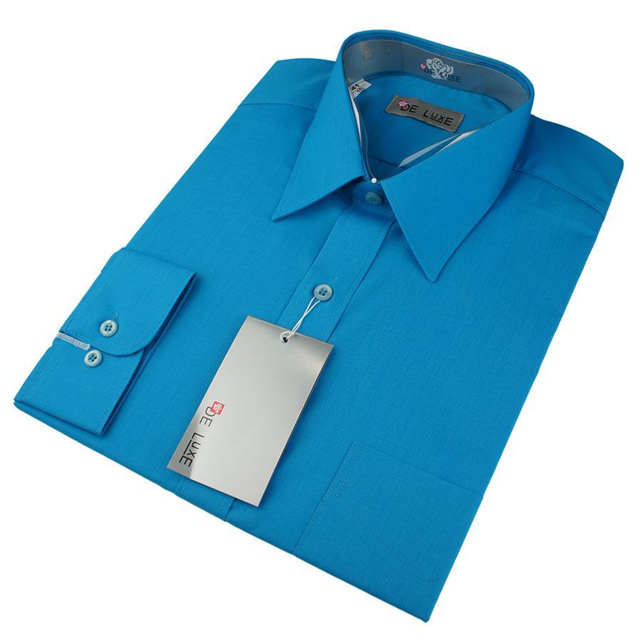 Чоловіча класична сорочка De Luxe 38-46 д/р 420D кольору морська хвиля