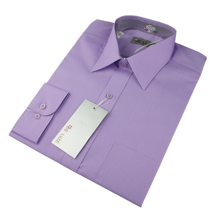 Чоловіча класична сорочка De Luxe 38-46 д/р 218D фіолетового кольору