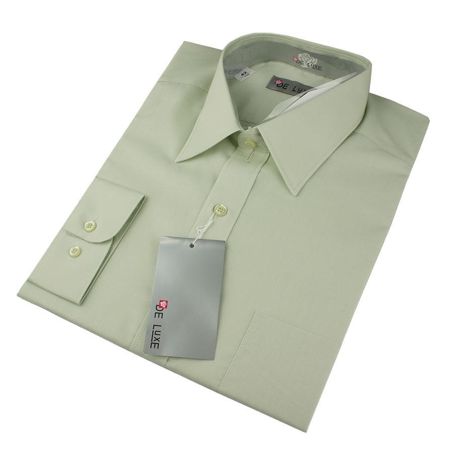Чоловіча класична сорочка De Luxe 47-54 д/р 401D зеленого кольору великих розмірів