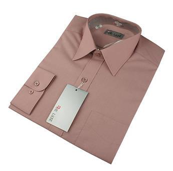 Чоловіча класична сорочка De Luxe 47-54 д/р 210D  суха роза