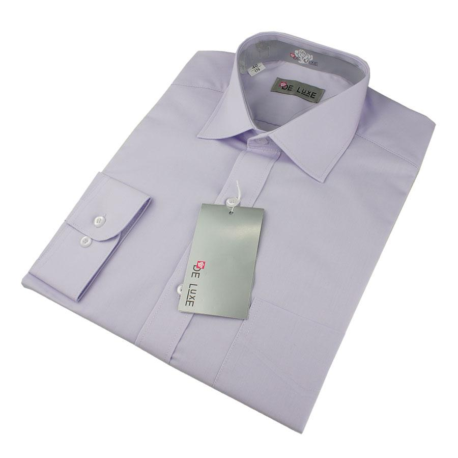 Чоловіча класична сорочка De Luxe 47-54 д/р 208D світло-фіолетового кольору