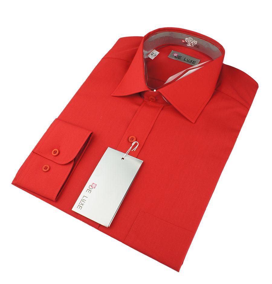 Чоловіча класична сорочка De Luxe 47-54 д/р 214D червоного кольору великих розмірів