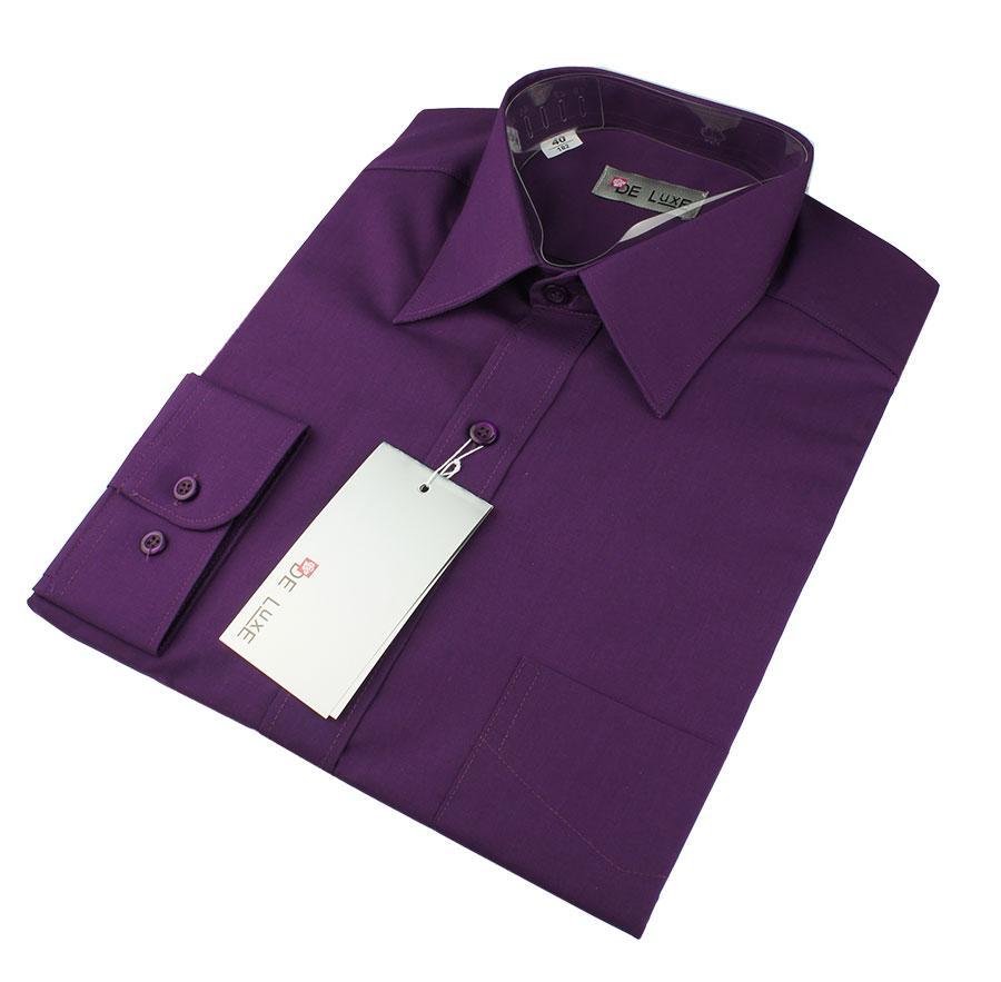 Чоловіча класична сорочка De Luxe 47-54 д/р 219D в фіалковому кольорі великих розмірів