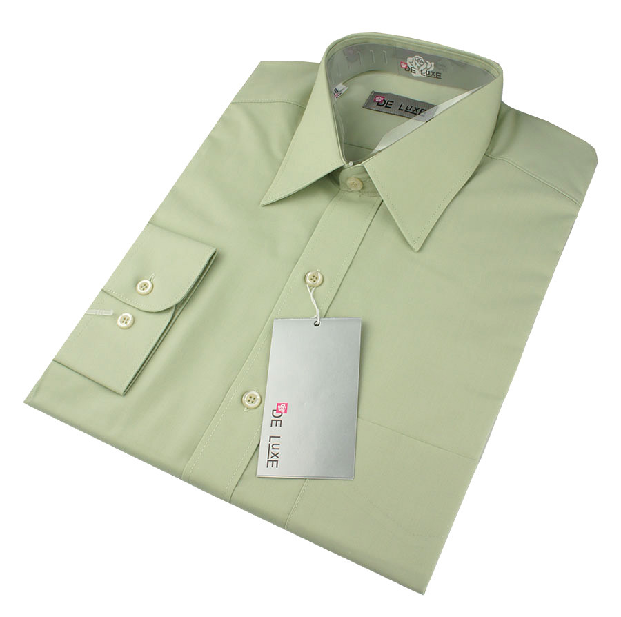 Чоловіча класична сорочка De Luxe 47-54 д/р 403D в фісташковому кольорі