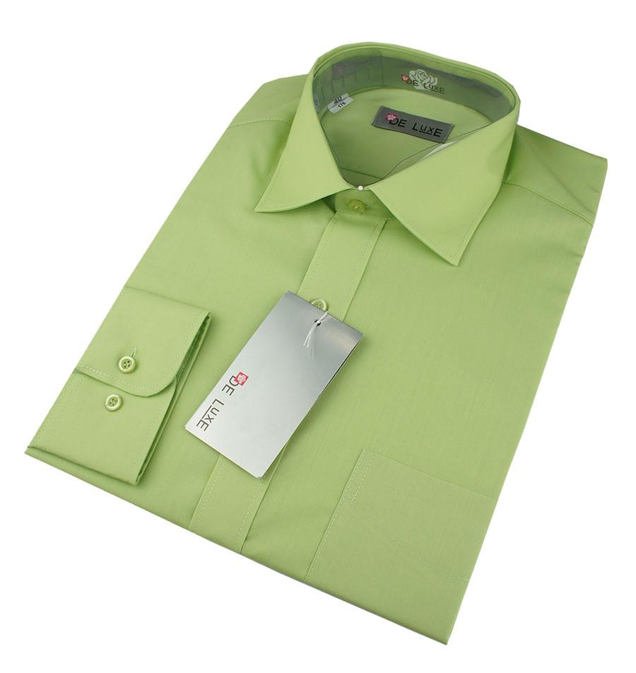 Чоловіча класична сорочка De Luxe 47-54 д/р 404D зеленого кольору великих розмірів