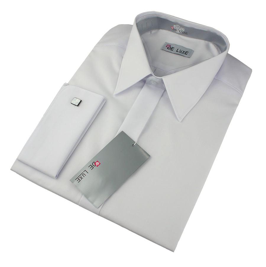 Чоловіча класична сорочка De Luxe 101DZ під шпильку білого кольору