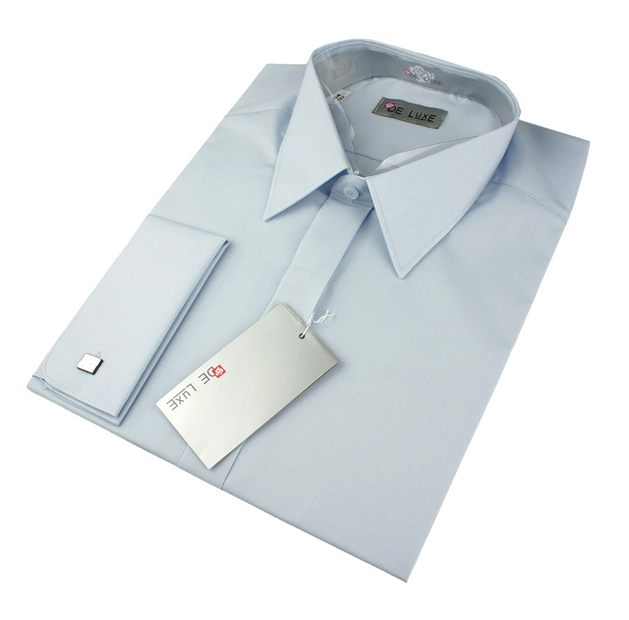 Чоловіча класична сорочка De Luxe 203DZ під шпильку у світло-блакитному кольорі