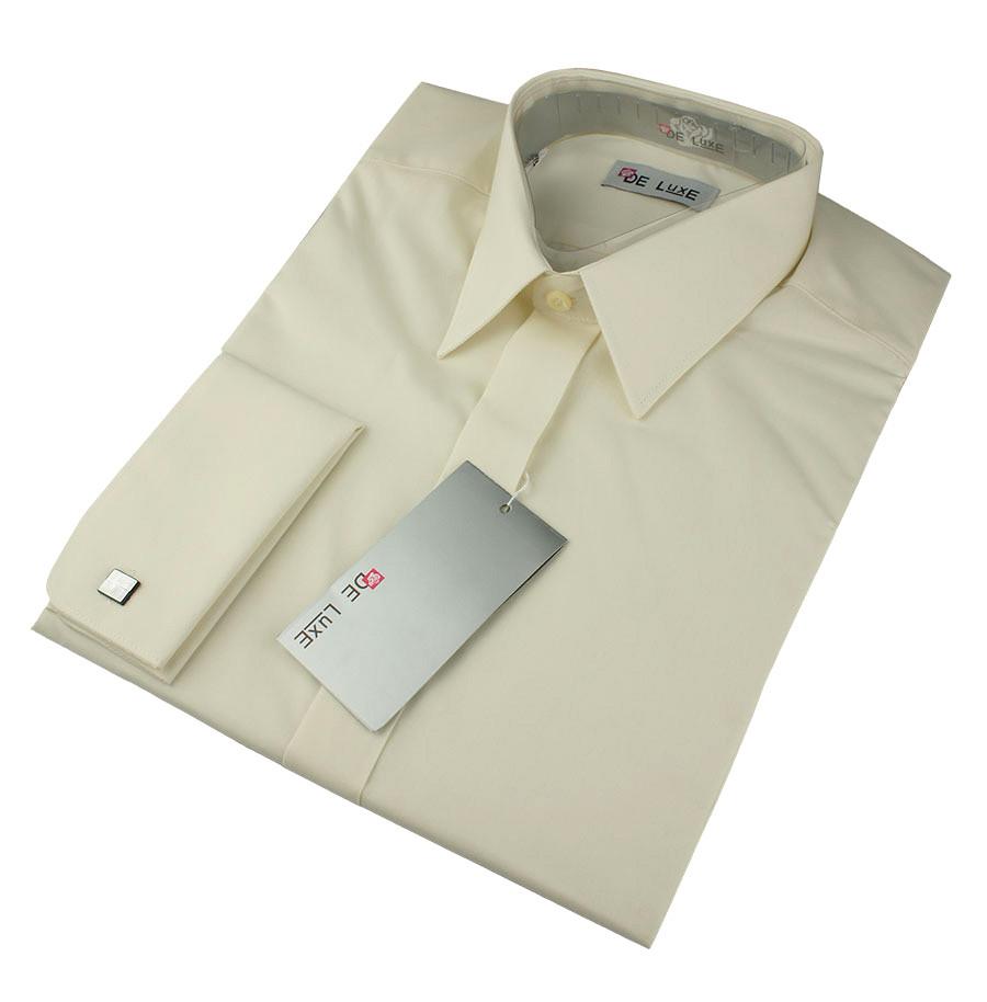 Чоловіча класична сорочка De Luxe 102DZ під шпильку бежевого кольору