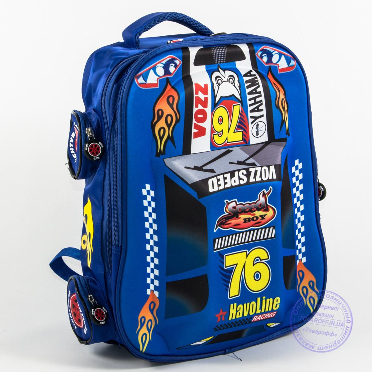 Оптом школьный рюкзак для мальчика 3D машина - синий - 127