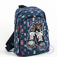 Оптом небольшой джинсовый рюкзак с кедами - синий - 117