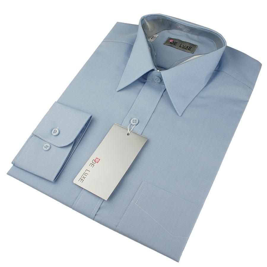 Чоловіча класична сорочка De Luxe 47-54 д/р 203aD світло-синього кольору