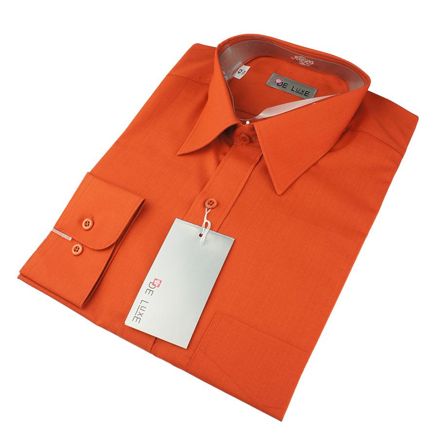 Чоловіча кластична сорочка De Luxe 47-54 д/р 206D теракот