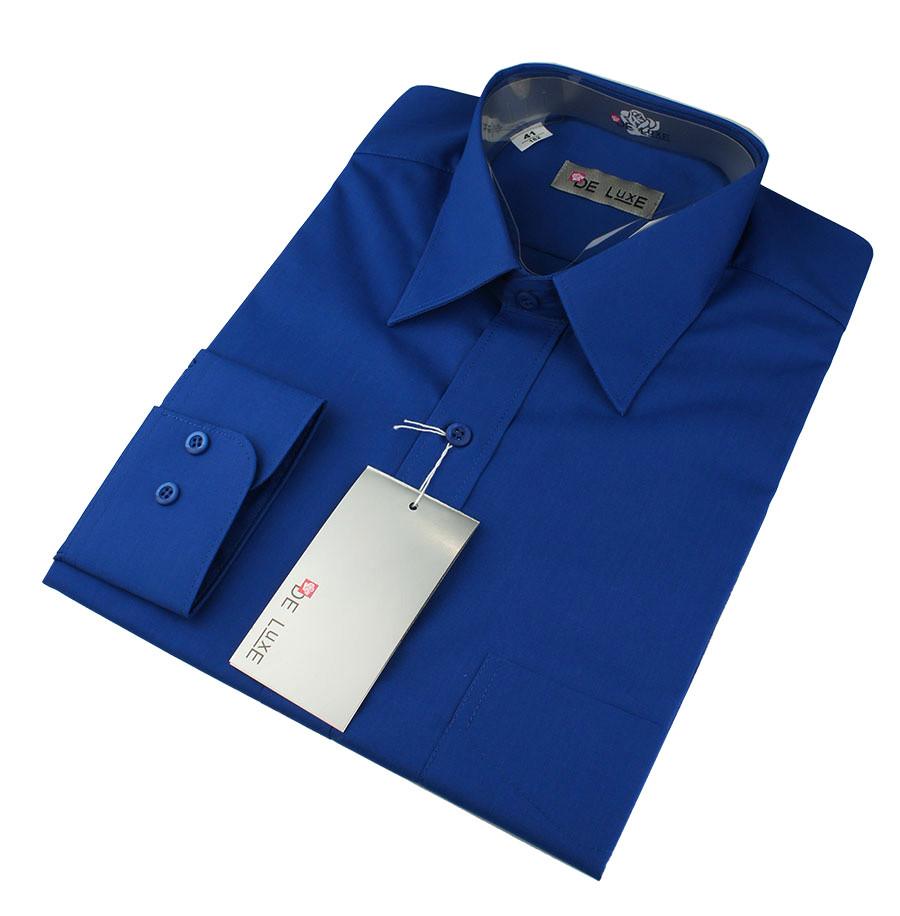 Чоловічка класична сорочка De Luxe 38-46 д/р 201D волошковий