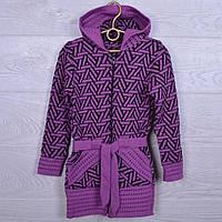 """Кофта вязанная школьная """"Ёлочка"""" для девочек. 116-134 см. Фиолетовая. Школьная форма оптом"""