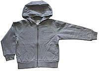 Теплая светло-серая кофта на молнии с капюшоном для девочки, рост 110 см, ТМ Бонка
