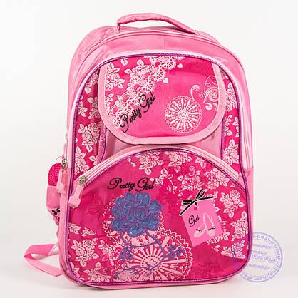 Оптом школьный рюкзак для девочек с цветочком - розовый - 149, фото 2