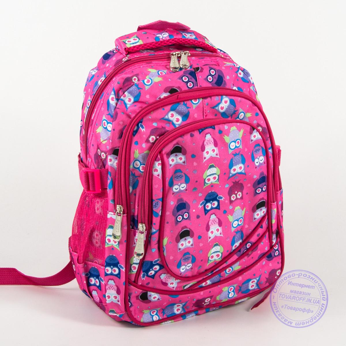Оптом школьный/прогулочный рюкзак для девочек с совами - розовый - 104