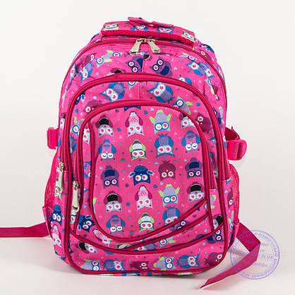 Оптом школьный/прогулочный рюкзак для девочек с совами - розовый - 104, фото 2