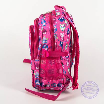 Оптом школьный/прогулочный рюкзак для девочек с совами - розовый - 104, фото 3