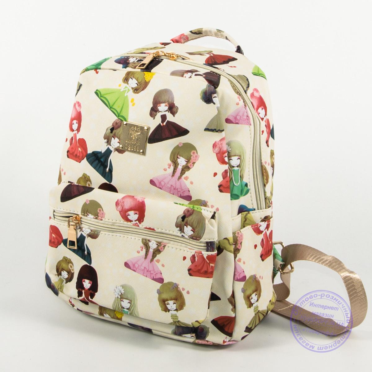 Оптом маленький прогулочный рюкзак - белый - 116