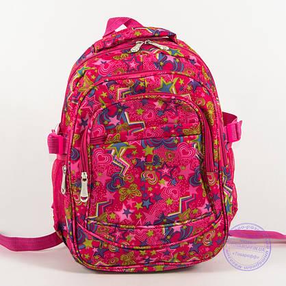 Оптом школьный/прогулочный рюкзак для девочек со звездами - розовый - 103, фото 2