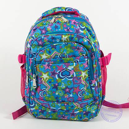 Оптом школьный/прогулочный рюкзак для девочек со звездами - голубой - 103, фото 2