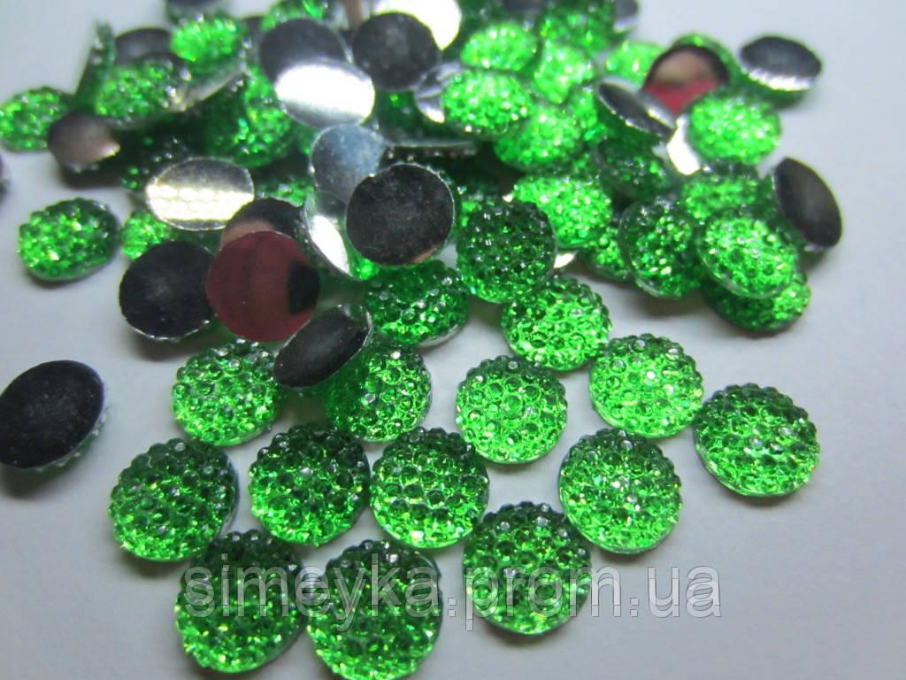 Камешек со стразами, диаметр 8 мм, упаковка 10 шт. Зеленый