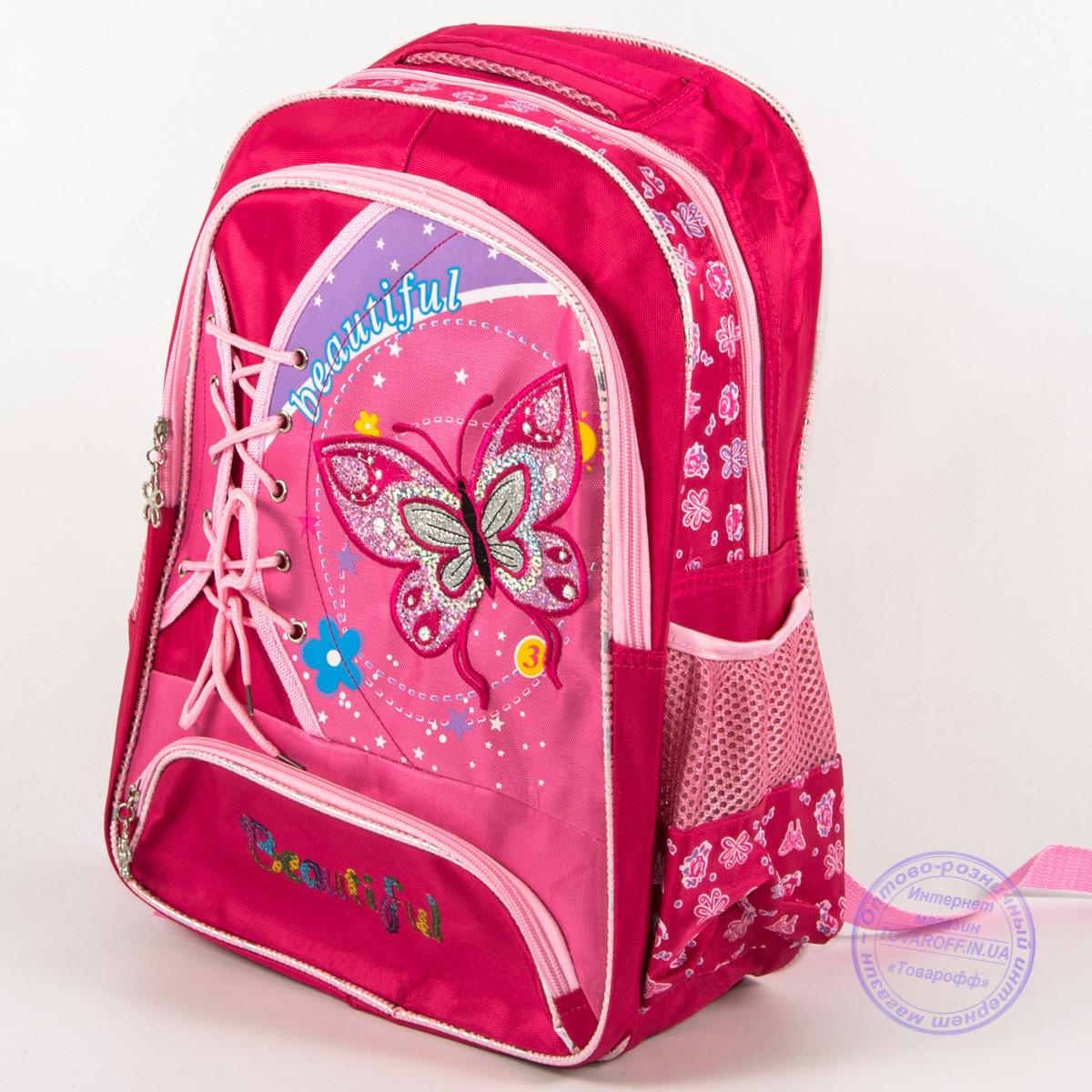 Оптом школьный рюкзак для девочек с бабочкой - красный - 148