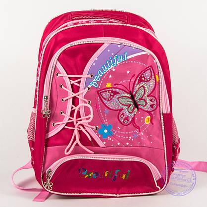 Оптом школьный рюкзак для девочек с бабочкой - красный - 148, фото 2