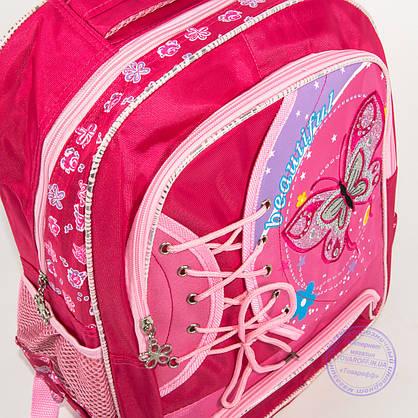 Оптом школьный рюкзак для девочек с бабочкой - красный - 148, фото 3