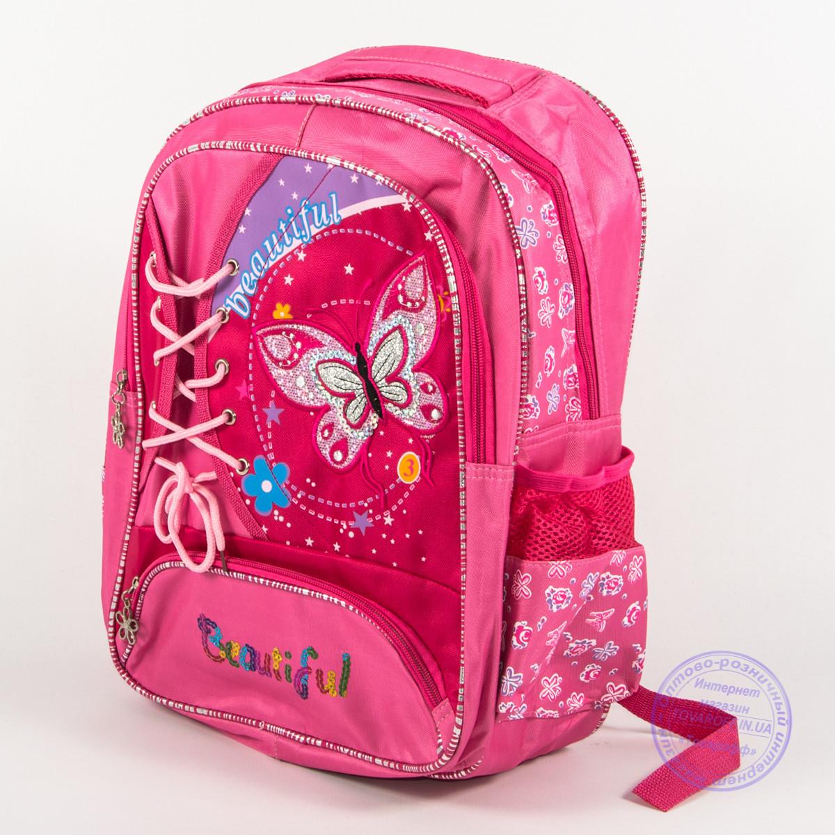 Оптом школьный рюкзак для девочек с бабочкой - розовый - 148