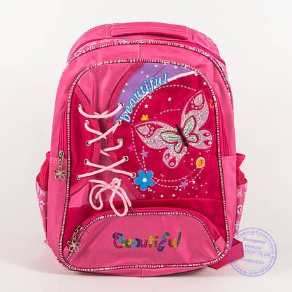 Оптом школьный рюкзак для девочек с бабочкой - розовый - 148, фото 2