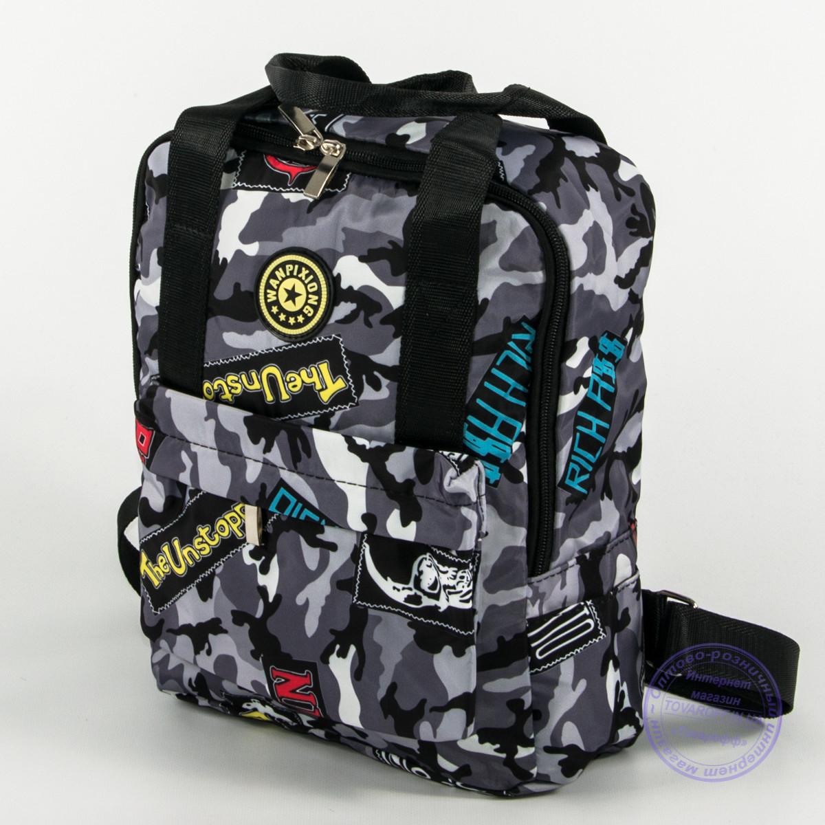 Оптом сумка-рюкзак для школы и прогулок - серый - s-r1