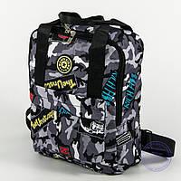 Оптом сумка-рюкзак для школы и прогулок - серый - s-r1, фото 1