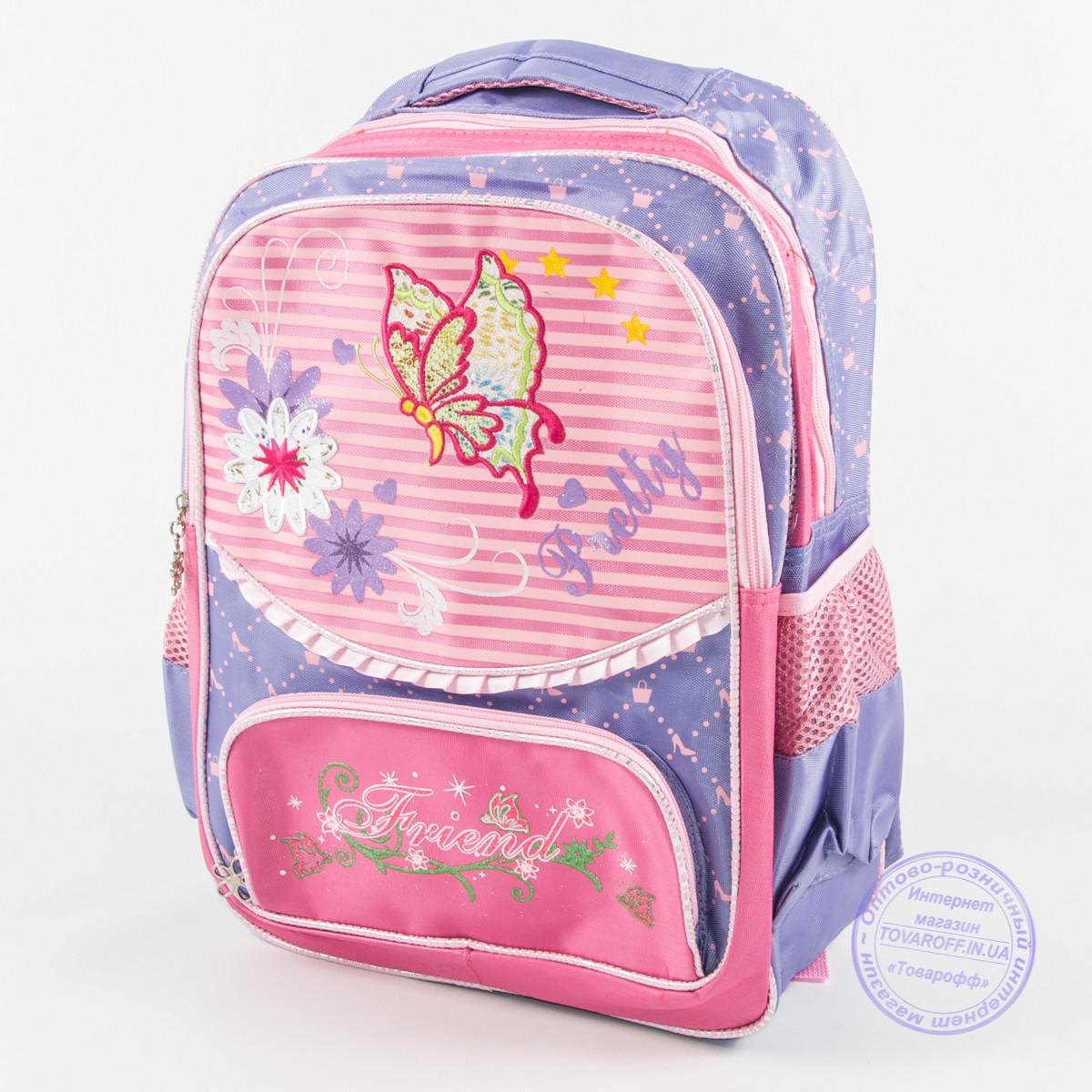 Оптом школьный рюкзак для девочек с бабочкой - сиреневый - 146
