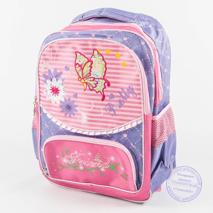 Оптом школьный рюкзак для девочек с бабочкой - сиреневый - 146, фото 2
