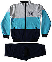 Спортивный костюм мальчику темно-синий с полосатой кофтой, рост 152 см, Joiks