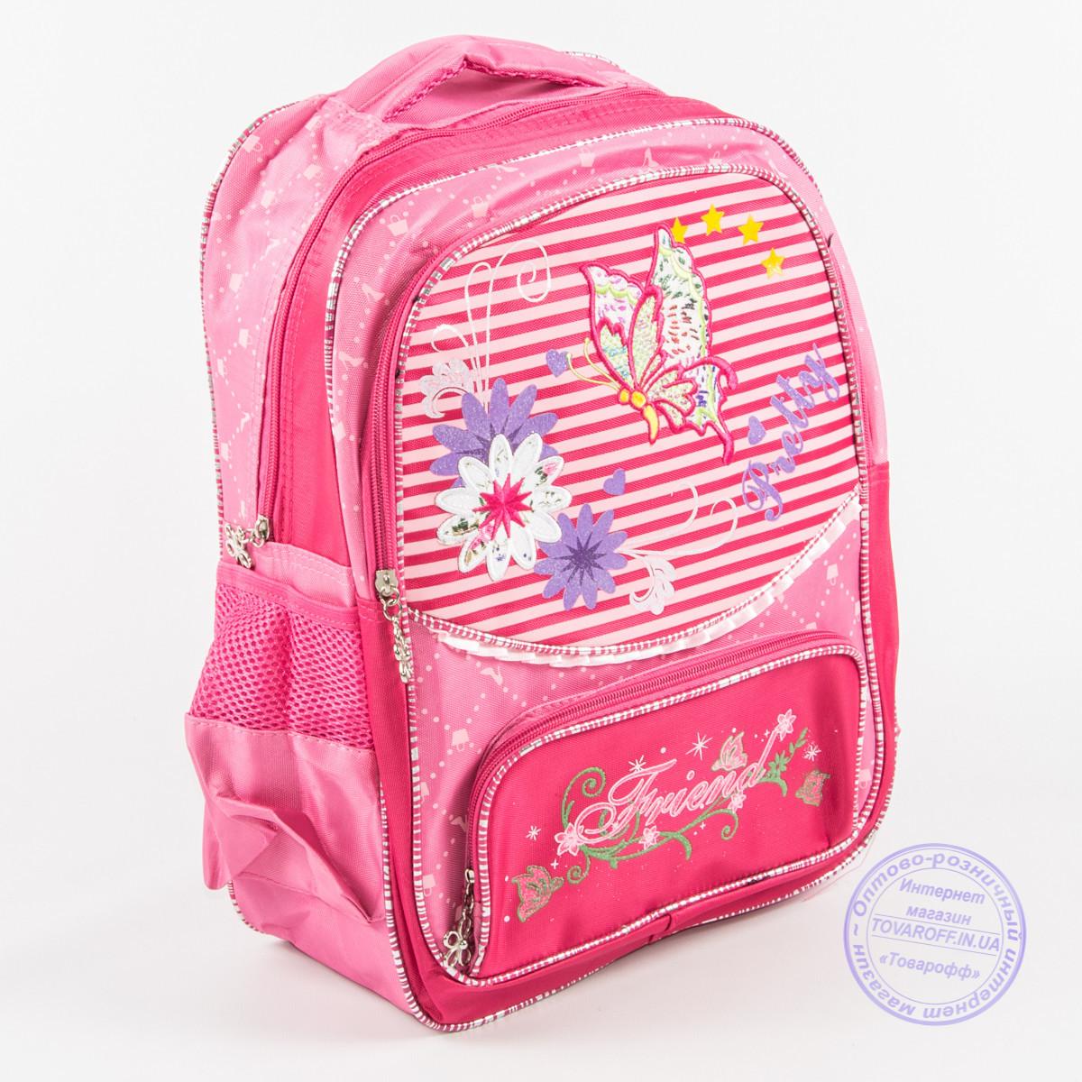 Оптом школьный рюкзак для девочек с бабочкой - малиновый - 146