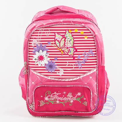 Оптом школьный рюкзак для девочек с бабочкой - малиновый - 146, фото 2