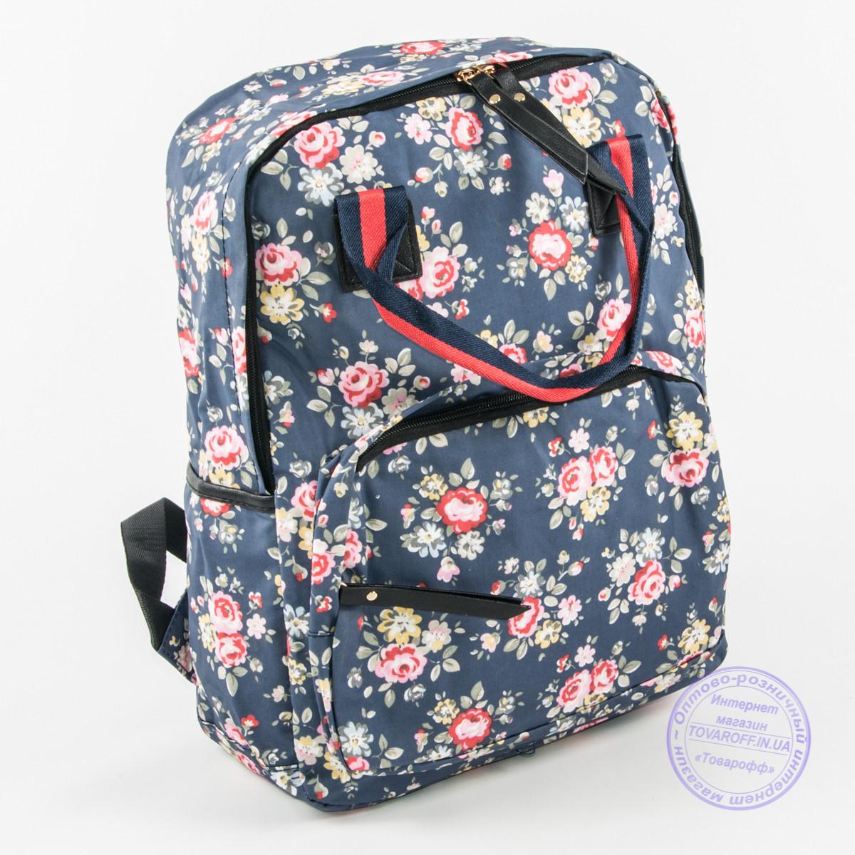 65594b2c1b59 Оптом сумка-рюкзак для школы и прогулок цветочный - синий - 9015 - Интернет  магазин