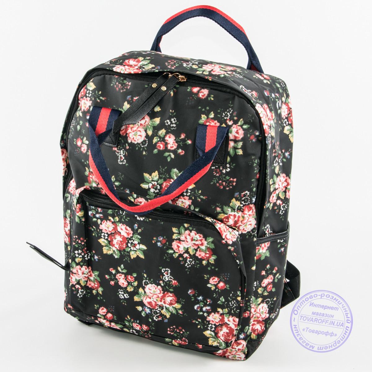 7c39f905bd33 Оптом сумка-рюкзак для школы и прогулок с цветами - черный - 9015 ...