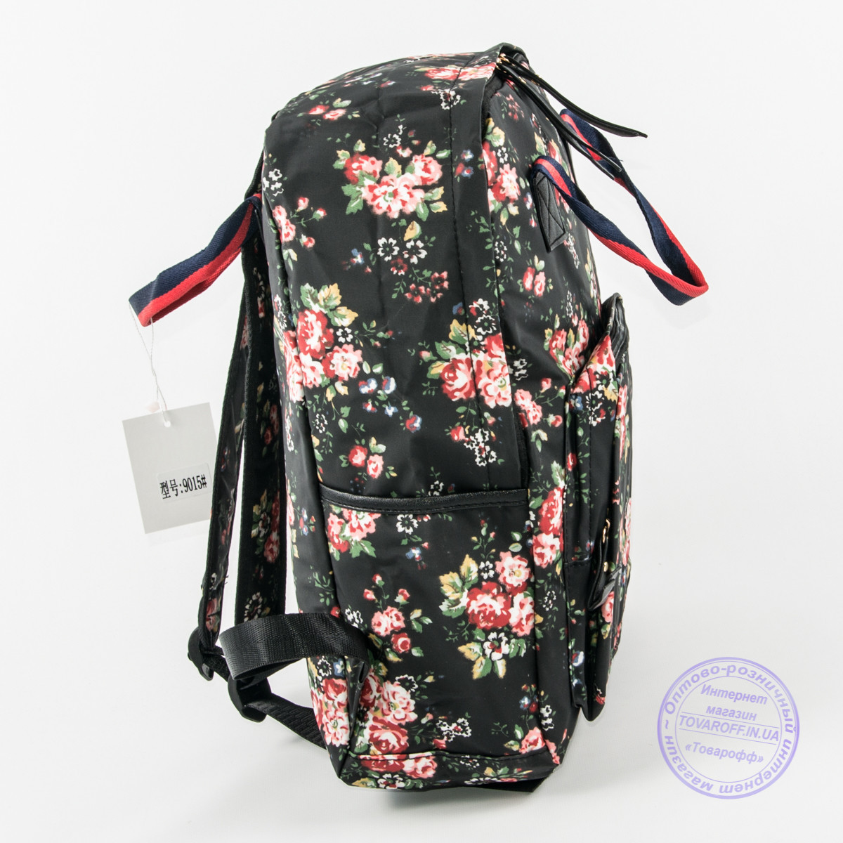 2d7dbfa9cf7e ... фото Оптом сумка-рюкзак для школы и прогулок с цветами - черный - 9015,  ...