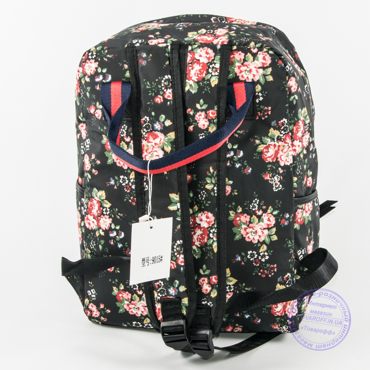 5adaebfe58d3 Оптом сумка-рюкзак для школы и прогулок с цветами - черный - 9015, цена 289  грн., купить в Хмельницком — Prom.ua (ID#560902005)