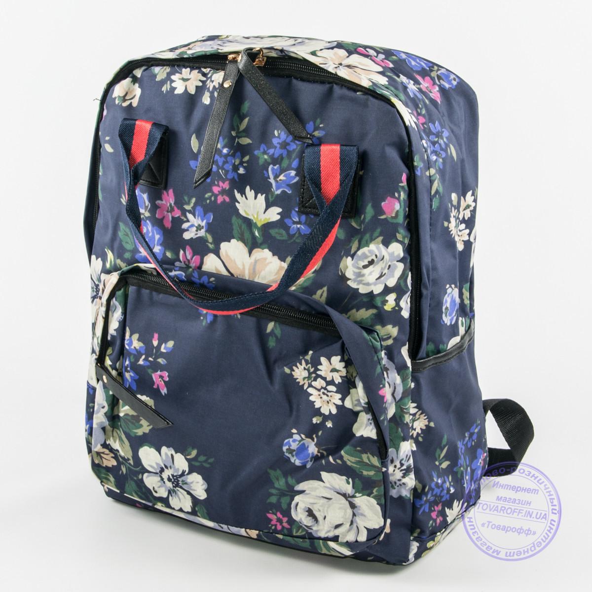 Оптом сумка-рюкзак для школы и прогулок цветочный - синий - 9015