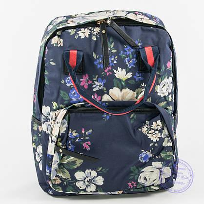 Оптом сумка-рюкзак для школы и прогулок цветочный - синий - 9015, фото 2