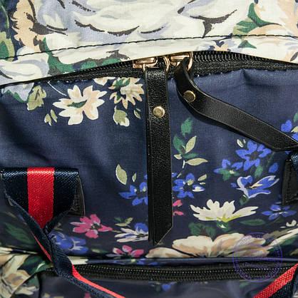 Оптом сумка-рюкзак для школы и прогулок цветочный - синий - 9015, фото 3