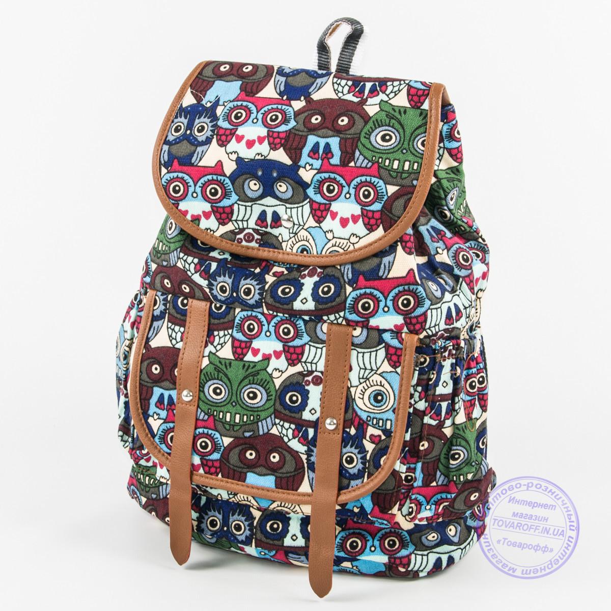 Оптом рюкзак для девочки с совами - синий - 161