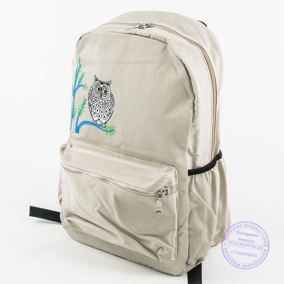 Оптом рюкзак для школы и прогулок с совой - бежевый - 8805