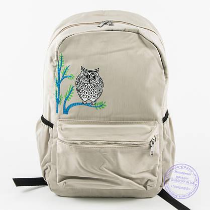 Оптом рюкзак для школы и прогулок с совой - бежевый - 8805, фото 2