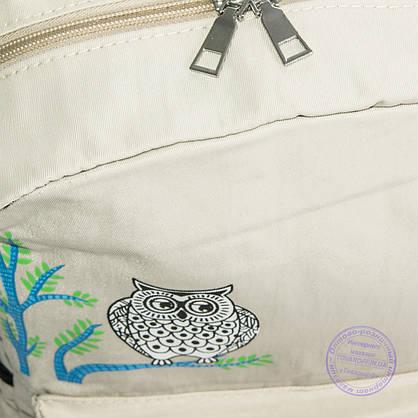 Оптом рюкзак для школы и прогулок с совой - бежевый - 8805, фото 3